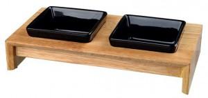 Keramické misky v dřevěném stojanu